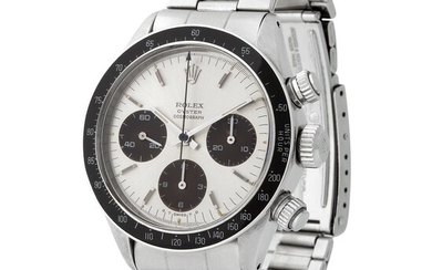 Rolex. Highly Exclusive and Very Attractive Daytona Chronograph Wristwatch in Steel, Reference 6263, With Silver Tropical Brown Dial