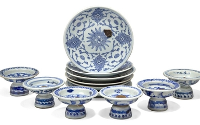 Six Chinese porcelain blue and white stem cups and matching saucer dishes, late Qing dynasty, each painted with stylised peonies, 16cm diameter of saucers (12)