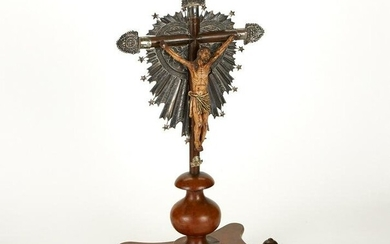 Spanish Colonial Polychrome Wood and Silver Crucifix