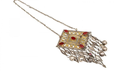 TURKOMAN SILVER ALLOY AND GILT PECTORAL NECKLACE