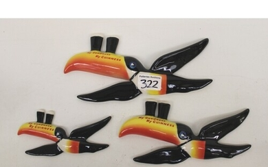 Three Carlton Ware Guinness flying toucan wall plaques