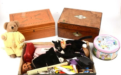 Three jewellery boxes, a table top chest of drawers and vintage items.