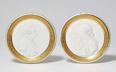 Two Berlin KPM biscuit porcelain plaques with portraits of Friedrich II and Friedrich Wilhelm II