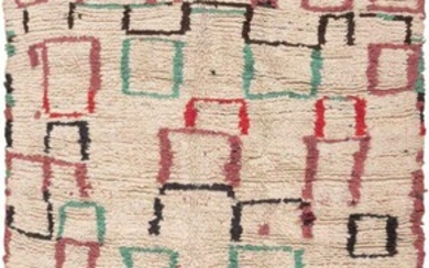 VINTAGE MID CENTURY MOROCCAN RUG. 8 ft x 4 ft 6 in ( 2.44 m x 1.37 m)
