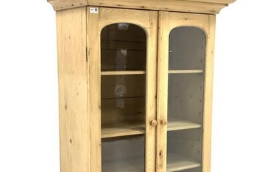 Victorian pine bookcase, projecting cornice over two arched glazed...