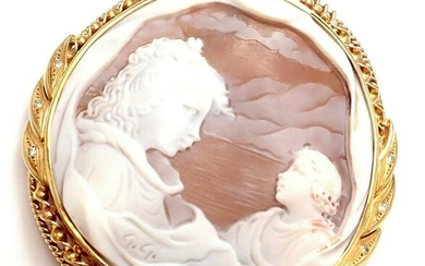 Vintage Large Cameo 18k Yellow Gold and Diamond Mother