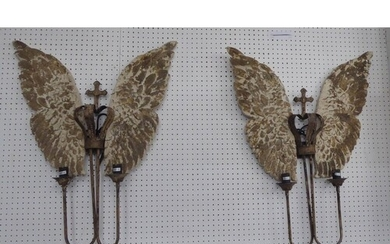 WALL SCONCES, a pair, winged design, two branch, 80cm x 62cm...