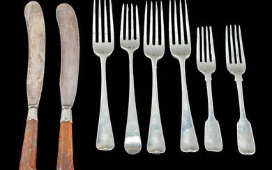 18th C. English Silver & Agate Forks & Knives (8)