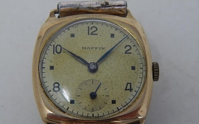 """1950's Gentleman's 9ct Gold Wristwatch by MAPPIN"""" with Subsi..."""