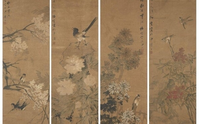 19th century Chinese School, four ink and colour on silk studies depicting birds and blossoming foliage, 141x37cm, glazed frames