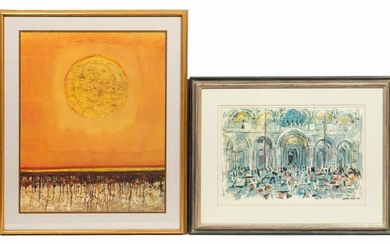 2 PCS, LAMAR DODD LITHOGRAPHS, VENICE & WORLDS