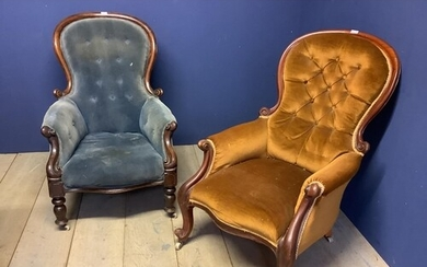 2 Victorian gents spoon back fireside chairs on casters for...