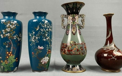 4 vases. Cloisonne. Probably Japan old. Up to 23 cm