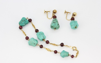 A 14ct yellow gold (stamped 14k) turquoise and garnet bracelet with matching 14ct gold screw back earrings.