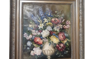 A 20th Century Oil on Canvas Still Life of flowers, signed.