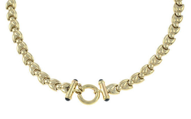 A 9ct gold fancy-link necklace, with sapphire detail clasp.
