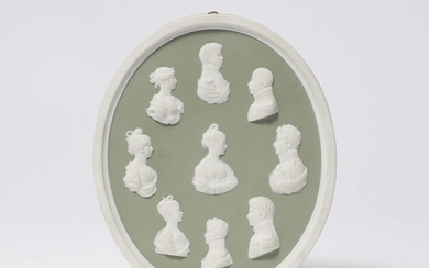 A Berlin KPM biscuit porcelain plaque with portraits of the Prussian royal family