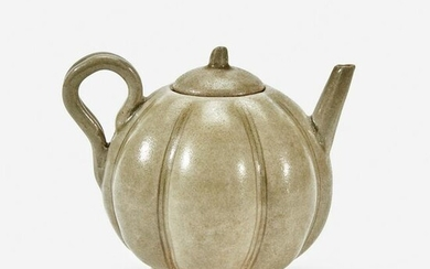 A Chinese celadon-glazed melon-form small ewer