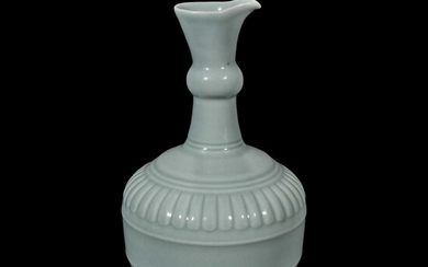 """A Chinese """"claire de lune"""" or pale celadon-glazed pouring vessel, Huajiao 粉青釉花浇"""