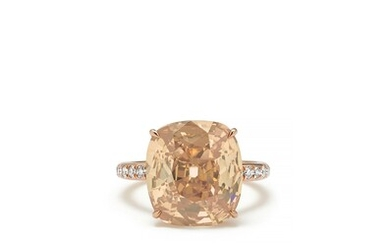 A Fancy Colored Diamond, Diamond and Gold Ring