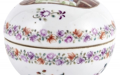 A Finely Enameled European Subject Chinese Porcelain Box and Cover
