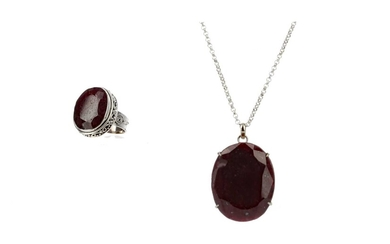 A LARGE RUBY RING AND PENDANT
