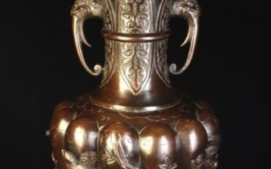 A Large 19th Century Japanese Brown Patinated Copper Alloy...