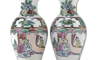 A PAIR OF CHINESE POLYCHROME ENAMELED PORCELAIN VASES 20TH CENTURY.