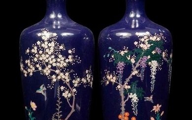 A Pair of Black Ground Cloisonné Vases and A Black