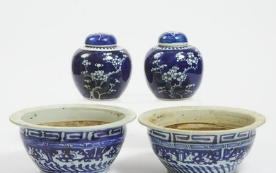 A Pair of Blue and White 'Prunus' Lidded Jars, Together