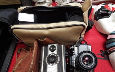 A Praktica BC1 electronic camera, flash and extra lens and a...