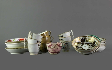 A SET OF SIX EARLY 19TH CENTURY ENGLISH PORCELAIN TEACUPS, ALONG WITH EIGHT OTHERS