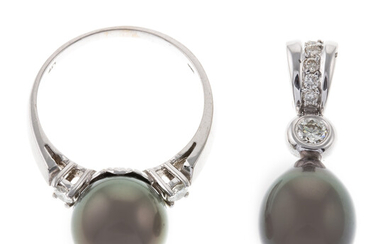 A Tahitian Pearl Ring & Pendant with Diamonds