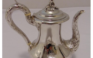 A Victorian hallmarked silver coffee pot, fluted pear shape ...