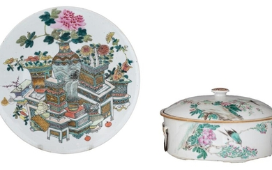 A collection of Chinese Republic period famille rose porcelain ware, ø plate 35 cm