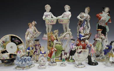 A collection of Continental porcelain figures, late 19th and 20th century, including a pair of child
