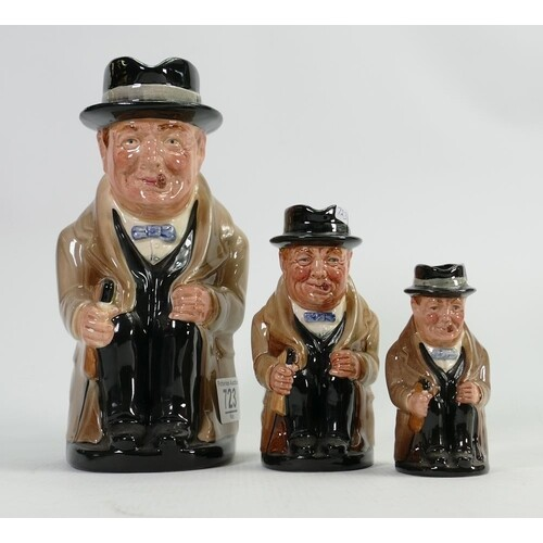 A collection of graduated Royal Doulton Churchill toby jugs:...