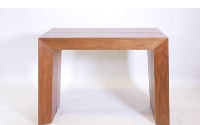 A contemporary designer mahogany pull out console table with...