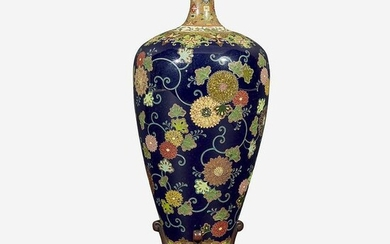 A fine Japanese cloisonne cabinet vase on wood stand