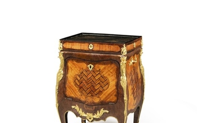 A late Louis XV gilt-bronze-mounted tulipwood and bois satiné marquetry and parquetry Chinese lacquered meuble à transformation, stamped J.F. Oeben and JME ; the mounts later