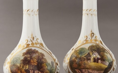 A pair of Derby bottle vases, c1820, painted with a thatched...