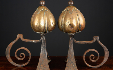 A pair of Victorian brass and steel art nouveau andirons...