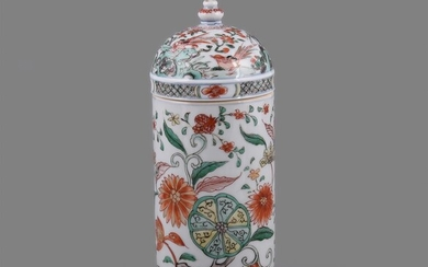 A very rare Chinese porcelain famille verte cylindrical apothecary jar and domed cover