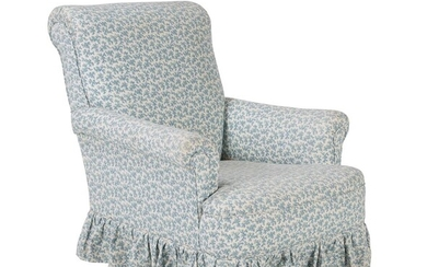 A walnut and upholstered armchair