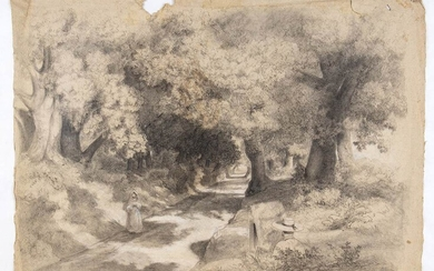 ANONYMOUS, 19th CENTURY Landscape with tree-lined avenue, painter and wayfarer...