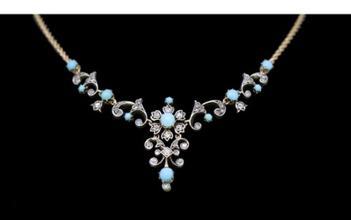 ANTIQUE TURQUOISE AND DIAMOND NECKLACE, the links of scrolli...