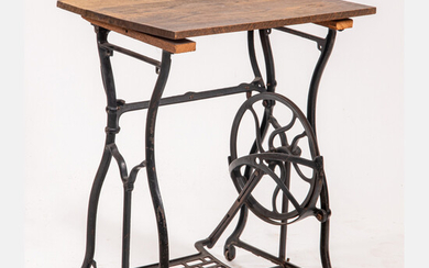 American Cast Iron Oak Sewing Stand Table