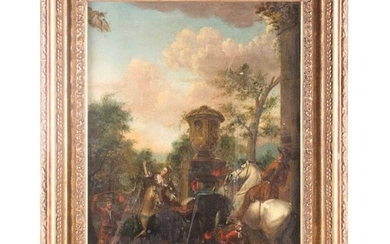 An 18th-century landscape of riders and figures and riders i...