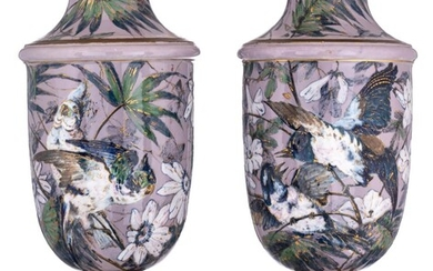 An imposing pair of Japonism inspired vases, H 91 cm