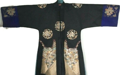 Antique Qing Chinese Metallic Embroidered Robe